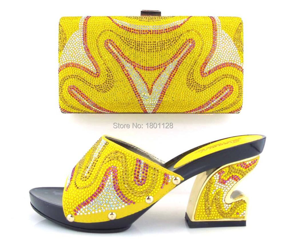 Newest Fashionable Beautiful African Shoes And Bag With Rhinestones Elegant Italian Shoes and Bag Set!HUA1-6