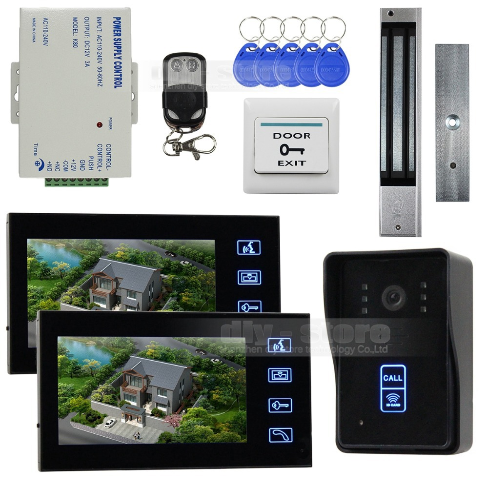 7 Inch Monitor Video Door Phone Intercom Doorbell Home Security + Remote Control + Magnetic Lock SY806MJID12(China (Mainland))