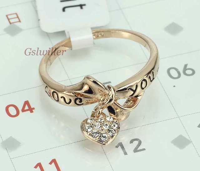 Free Shipping Italina Rigant Fashion Jewelery Wholesale18k Rose Gold Plated Heart Love you Crystal Rings Wedding Gifts