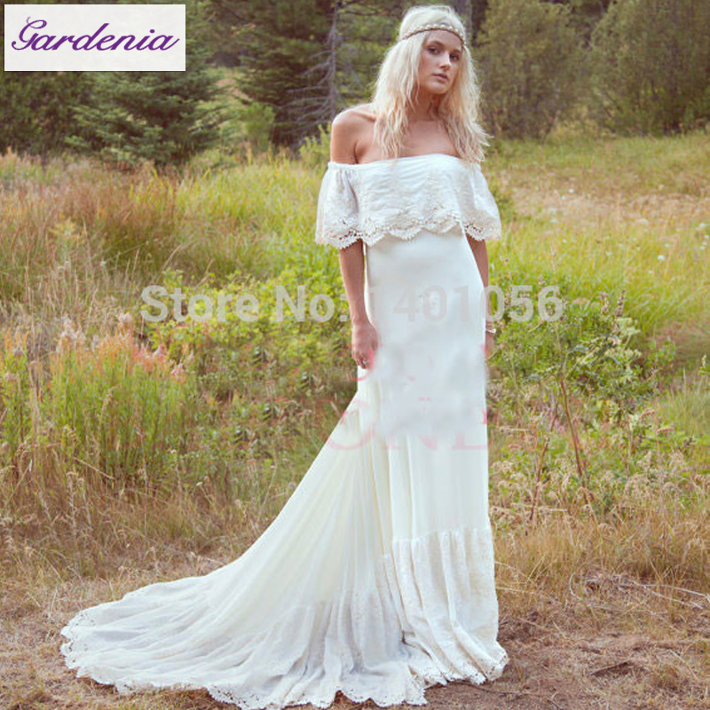 bohemian wedding dress pattern off shoulder | ivo hoogveld