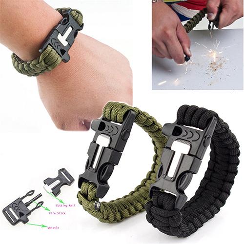 2015 Hot sale Survival Paracord Bracelet Outdoor Scraper Whistle Flint Fire Starter Gear Kits 4VVK