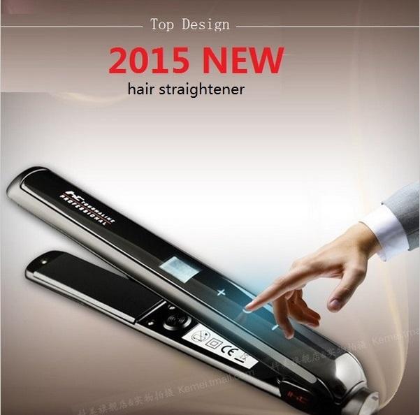 2015 new professional pelo planchas de cabello titanium flat iron ceramic lisseur stijltang fer plat corrugation Touch screen(China (Mainland))