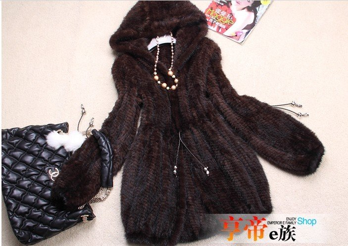 Free Shipping Ladies Fashion Real Knitted Mink Fur Coat with Hoody Outwear GarmentОдежда и ак�е��уары<br><br><br>Aliexpress
