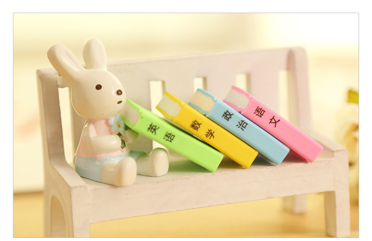 4 Different colors Fashion eraser Chinese text elements stationery Cartoon color book eraser nice gift (4 PCS price)(China (Mainland))