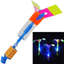 20Pcs/set Arrow Rocket LED Flashing Flying Toys Rocket Copter Slingshot LED Crossbow Arrow Helicopter Toy Outdoor Fun Sports(China (Mainland))