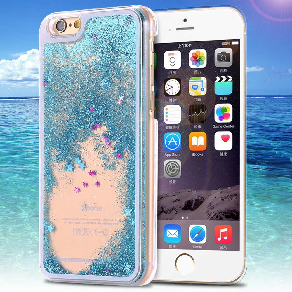 Dynamic Liquid Glitter Sand Quicksand Star Case For iphone 5 5s Crystal Clear Cellphone Back Cover For Apple iphone5(China (Mainland))