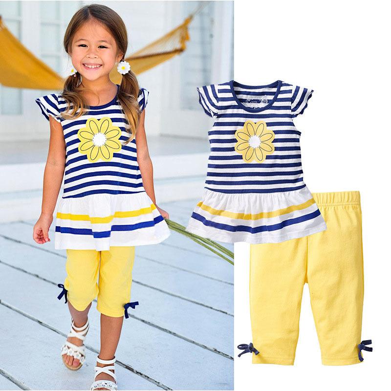 2016 New Girls Clothing Sets Baby Kids Clothes Suit Children Short Sleeve Striped T-Shirt +Pants roupas infantil meninas CF104(China (Mainland))