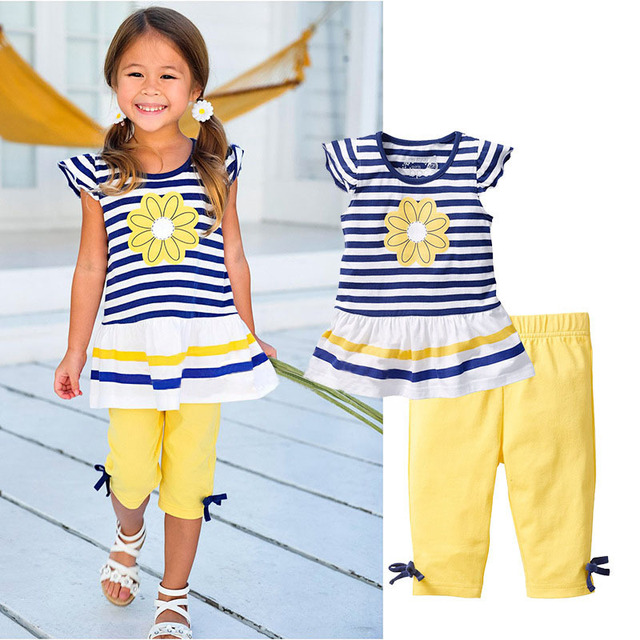 Retail 2015 New Girls Clothing Sets Baby Kids Clothes Children Clothing 2 PCS Set Short Sleeve Striped T Shirt +Pants CF104 комплекты одежды для девочек