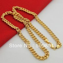 NE1538 Customized Jewelry New Fashion 6.5mm Width Mens Chains Necklace 24k Gold Vacuum Plating High Quality Free Shipping(China (Mainland))