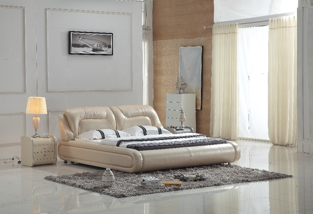 0414-801 modern design soft leather bed(China (Mainland))