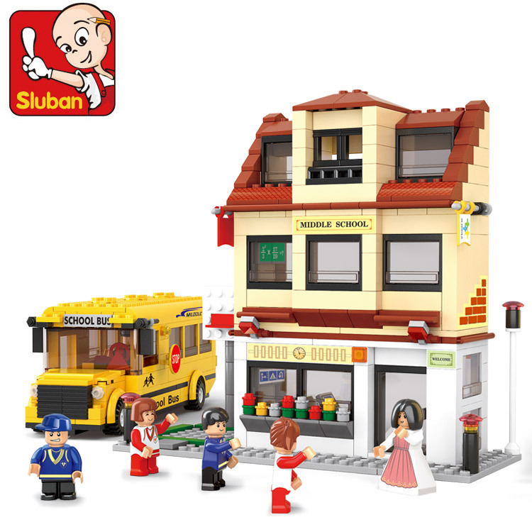 Sluban B0333 Sim City School Bus 3D Construction Plastic Model Building Blocks Bricks Compatible