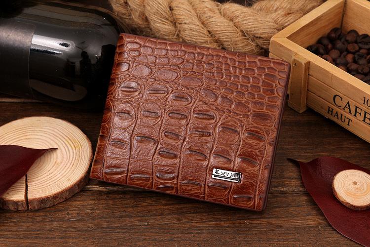 2014 fashion casual men's fashion trends two fold wallets snake skin wallet crocodile pattern purse free shipping 2PCS(China (Mainland))