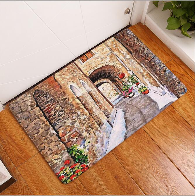 New seaside town printed mat anti slip decor doormat foot pad bathroom kitchen hallway carpets floor mat for living room 4060cm us827