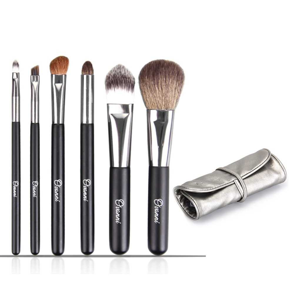 Hot Sales Professional Cosmetic Makeup Brushes Sets Tools 6 Pcs Make Up Brush Set For Eyeshadow/Powder /Lip Goat Hair With Case(China (Mainland))