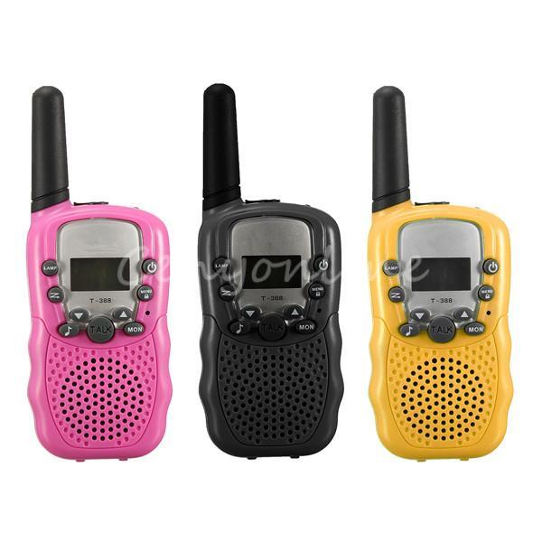 1Pair Dual 3 Colors Adjustable Mini Portable Wireless LCD 5KM UHF Car Auto Multi Channels 2-Way Radio Travel Walkie Talkie T-388