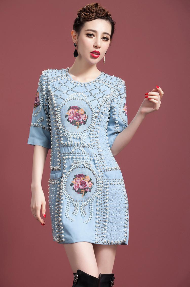 [REAL SHOT] Heavy Beaded Pearl Stitch Vintage Denim Dress Half Sleeve High-end Luxury Elegance Slim Dress Free shippingОдежда и ак�е��уары<br><br><br>Aliexpress