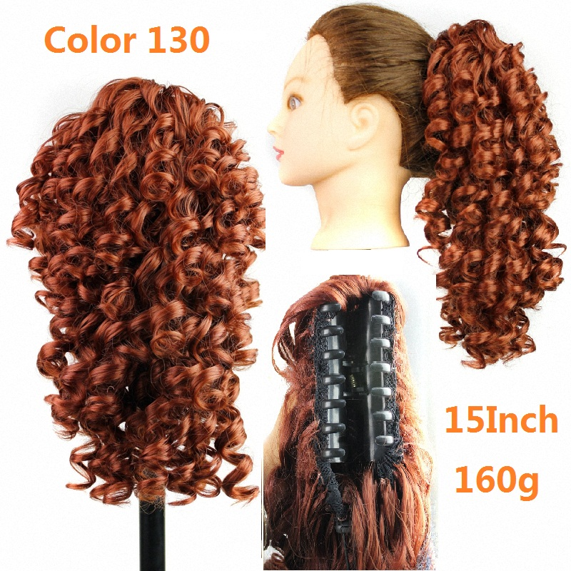 Black hairstyles ponytail hairpieces curly ponytails synthetic fake hair pieces pony tails claw clip ponytail hair extensions(China (Mainland))