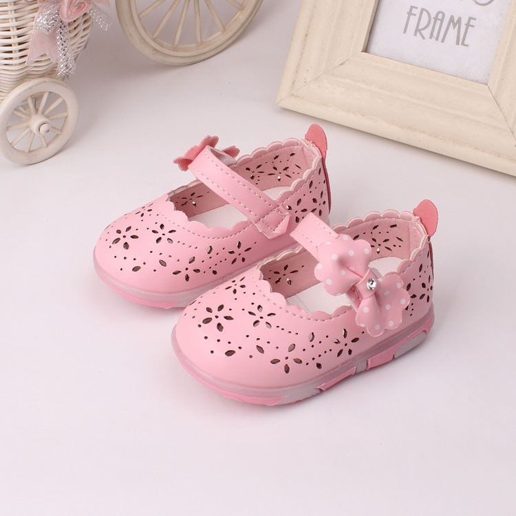2016 new baby shoes with Light Fashion Bowtie PU Leather Girls Princess Shoes cut out baby girl toddler shoes first walkers(China (Mainland))