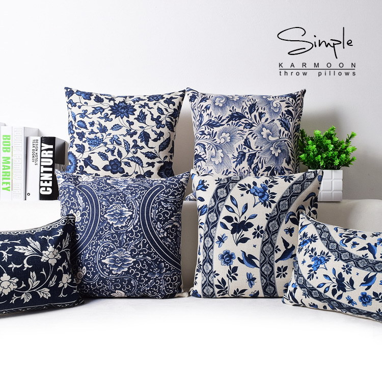 Oriental Throw Pillow Covers : Oriental Floral Cushion Cover Blue White Chinese Style Throw Lumbar Pillow Case Sham Linen ...