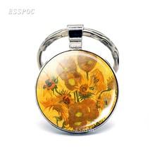 Van Gogh Pintura A Óleo Arte Chaveiro Abstrato Pintura De Vidro Cabochão Pingente Chaveiro de Metal Diy Chaveiro Presentes para Ele ou Para ela(China)