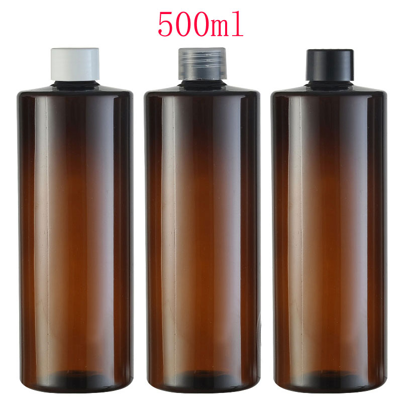 500ml X 12 brown empty lotion cream plastic container bottle with screw cap 500cc shower gel , shampoo , liquid soap bottles(China (Mainland))
