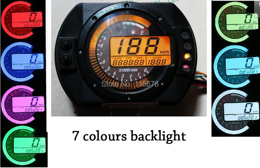 Universal LCD Digital Odometer Speedometer Tachometer Motorcycle RMP Motor Bike Scooter Golf Cart ATV 7 colour Backlight - Amanda Xu's store