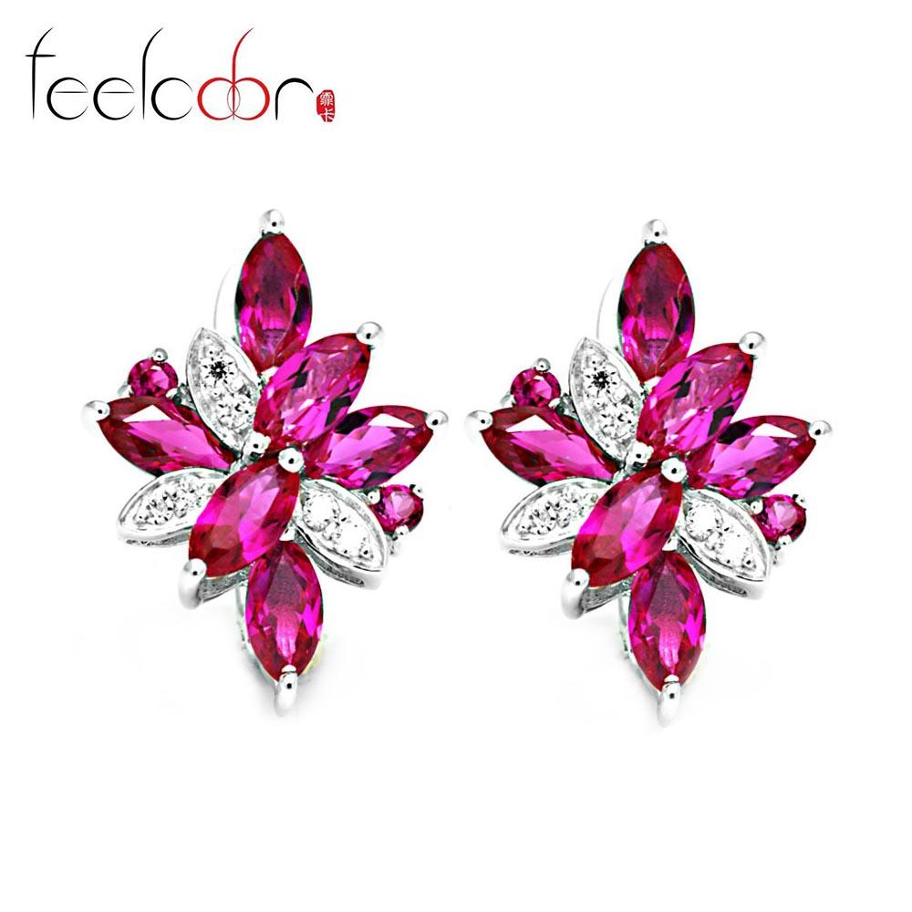 3.09ct Flower Pigeon Blood Red Ruby Clip Earrings Women Wedding Set Fine Jewelry 925 Solid Sterling Silver 2015 New