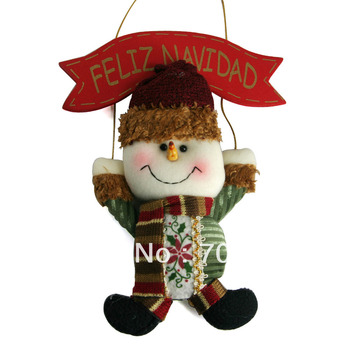 "FREE SHIPPING 11"" Christmas Decoration Snowman Merry Christmas Hanging Decor Santa Tree Ornament Christmas Gifts FELIZ NAVIDAD"