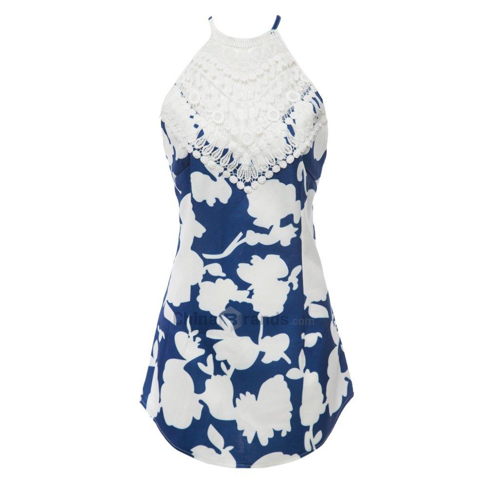 Blue Sexy Round Collar Sleeveless Lace Halter Dress Floral Print Dress Crisscross Backless Women's Mini Dress 123237701(China (Mainland))