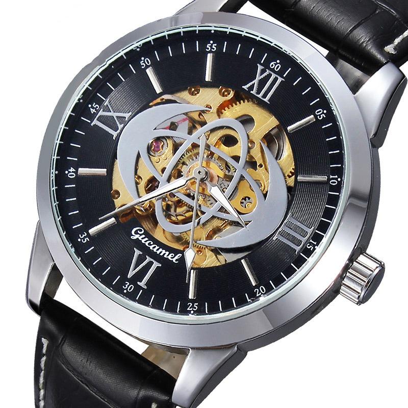 Gucamel Semi Automatic Mechanical Fashion Classic Hollow Geniune Leather Men Watch Reloj Brazalete Hombre Luxury Watch Automatic<br><br>Aliexpress