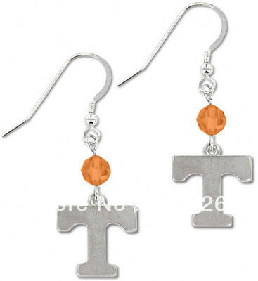 Free shipping Crystal Tennessee Volunteers NCAA Anti-Silver plated drop earrings 20 pairs a lot Wholesale