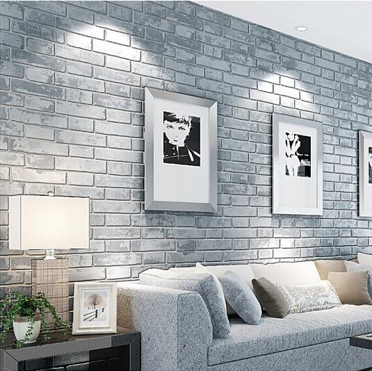 Salon con pared de ladrillo beautiful salon industrial for Papel piedra pared