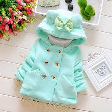 Бесплатная доставка, коллекция 2018 года, осенне-зимняя модная детская одежда двубортное пальто с длинными рукавами и бантом для маленьких де...(China)