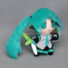 """Free Shipping 10/Lot VOCALOID Hatsune Miku 4"""" Smiling Plush Doll Figure Keychain(China (Mainland))"""