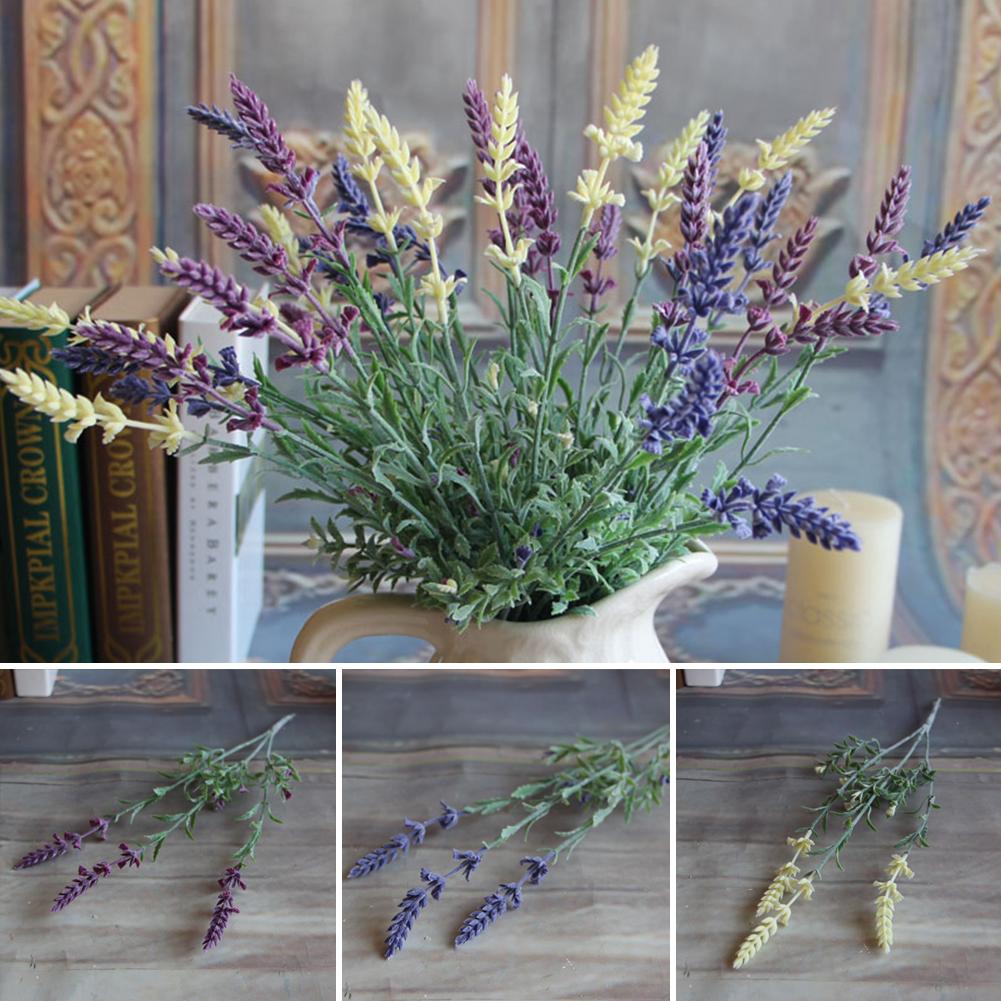 Mini Fresh Green Fake Plants Artificial Bouquet Lavender Leaves Grass Wedding Floral Decor Flowers Arrangement