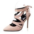 New Spring Summer Sandals WomenPumps Thin Heels Shoes Sexy Office Party Shoes Pointed Cross Lace Flock