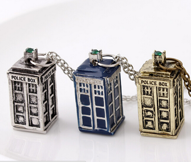 dr doctor who necklace tardis police box vintage rose gold silver bronze pendant jewelry for men and women wholesale(China (Mainland))