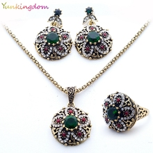 New Brand Unique Jewelry Sets India Women's Necklace Vintage Flowers Earrings Resin Stones Rings  wholesale / retail  YUN0509(China (Mainland))