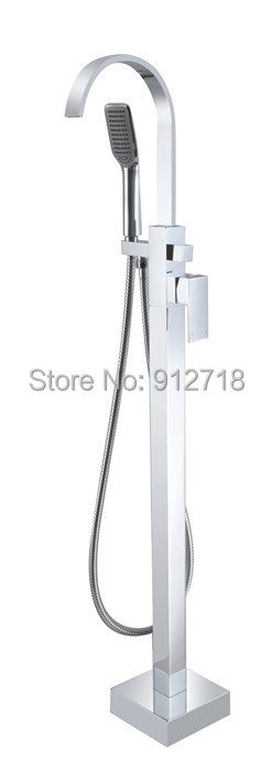 Floor Stand Faucets Bathtub Mixers Faucet Bathroom Shower Sets Squre Spout Water Pipe 9111A - Viskia Sanitary Ware Co.,Ltd. store