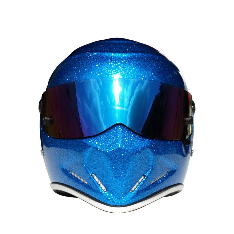 2016 new arrival universal fashion winter motorcycle helmet racing helmet ATV-4 blue glass steel(China (Mainland))