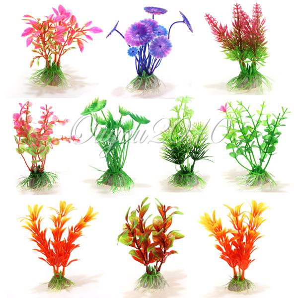 10pcs/lot Vivid Plastic Aquarium Decorations Multicolor Artificial Plants Fish Tank Grass Flower Ornament Decor Landscape(China (Mainland))