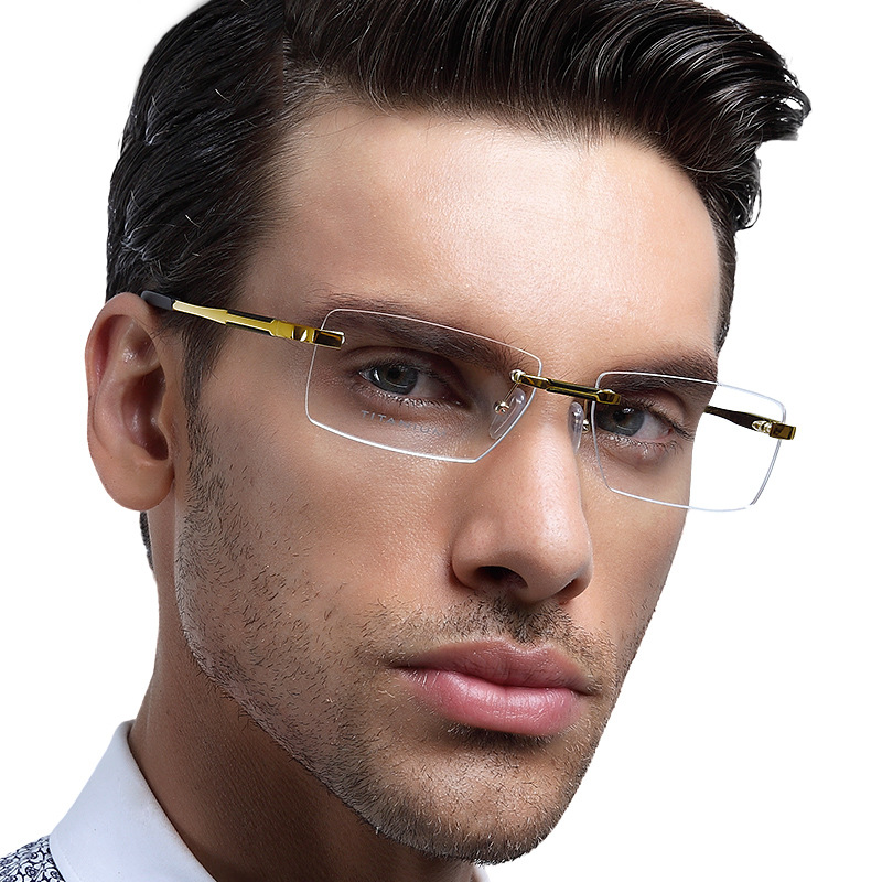 Rimless Glasses Trend : Pure Titanium Prescription Eyeglasses Brand Mens Fashion ...