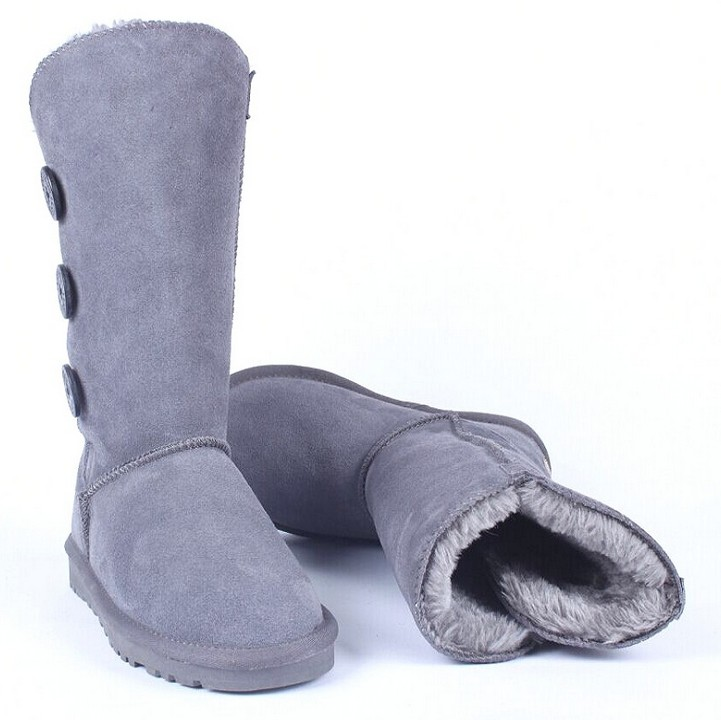 Hot! Women Genuine Leather Cotton Snow Boots Bucklws Fur Warm Winter Mid-Calf Ski Boots Big Size(China (Mainland))