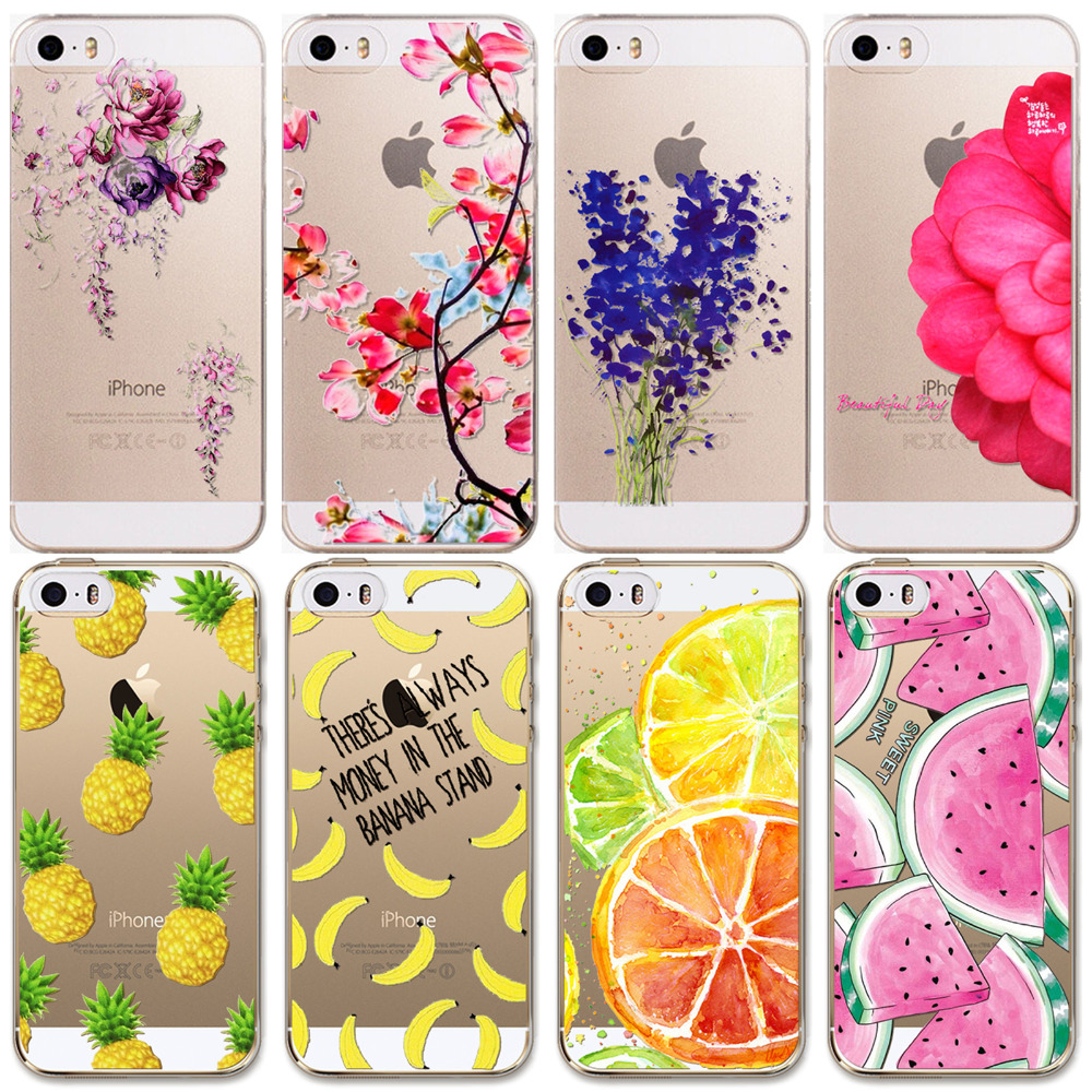 For Apple iPhone 5 5S SE Case New Arrival Hot Soft TPU Flowers Friuts Girls Painted Phone Skin Transparent Clear Back Case Cover(China (Mainland))