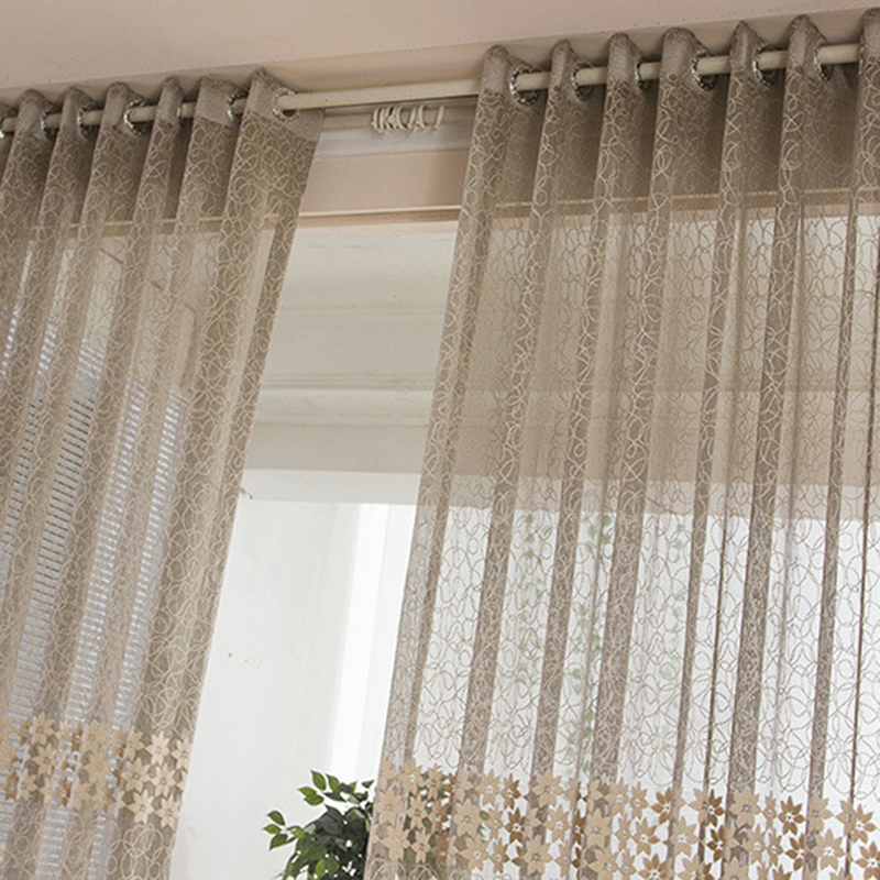 Floral Tulle Voile Door Window flowers Curtains Sheer Curtain Panel For Home Decration(China (Mainland))