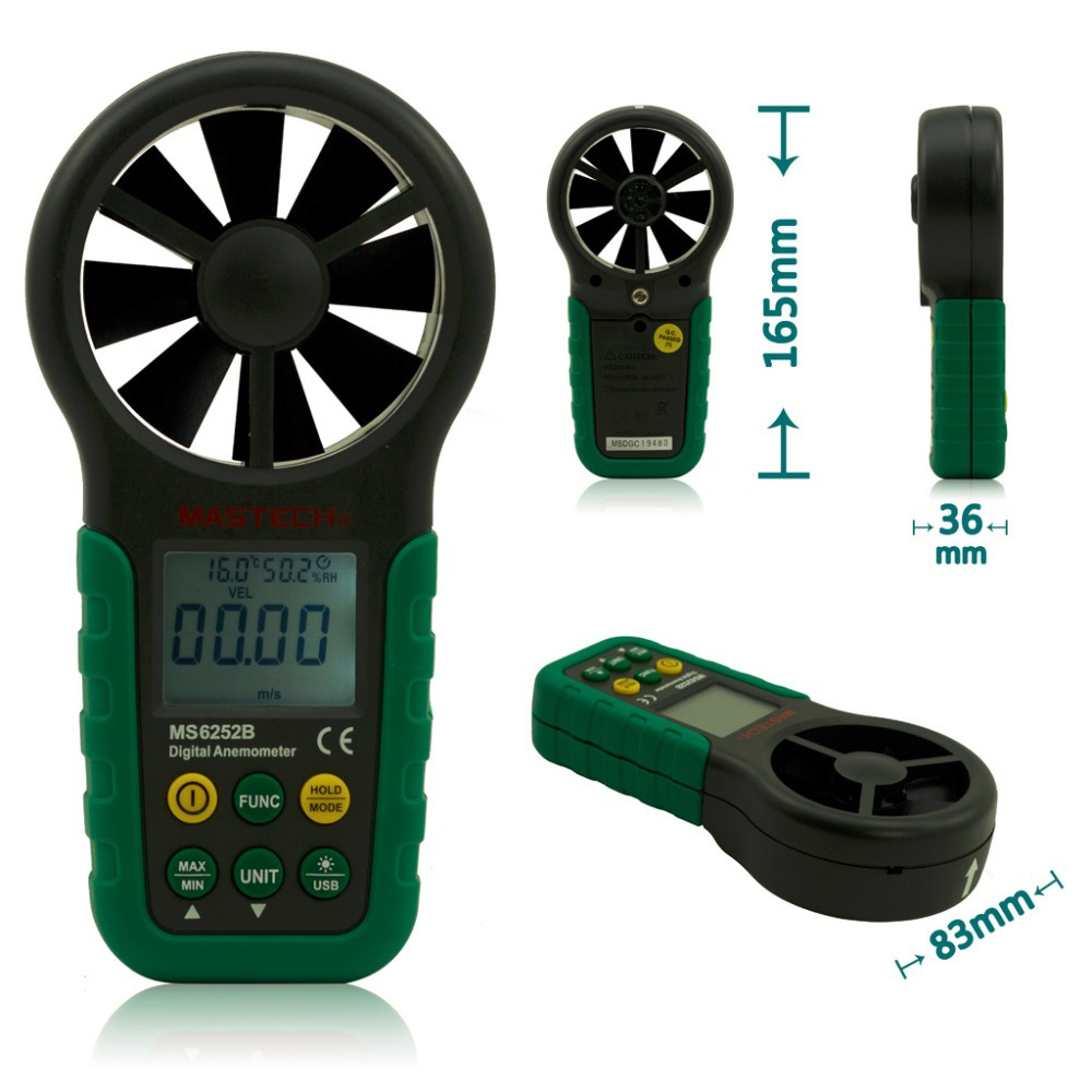 MASTECH MS6252B Digital Anemometer Wind Speed Meter Air Volume Ambient Temperature Humidity Tester With USB Interface(China (Mainland))