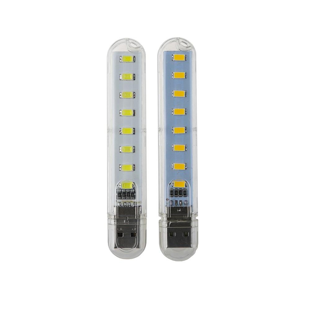 2pcs/lot 8 LEDs USB night light mini SMD LED lamp Book Camping Bulb PC Laptops Notebook Reading warm white fast ship SW