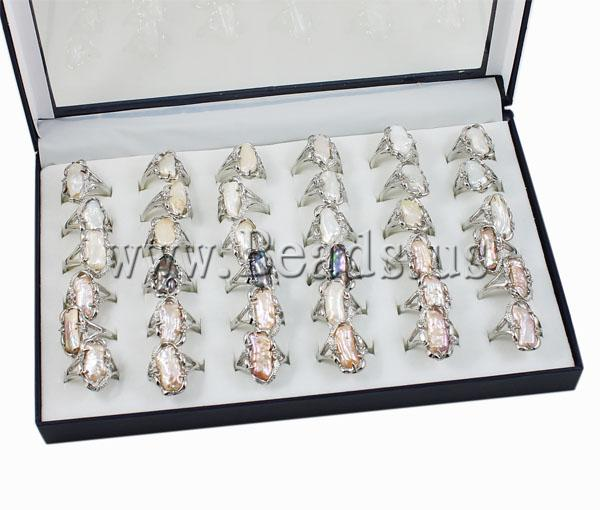 !!Shell Finer Rins, Jewelry, Brass, mixed, 14x24mm, Hole:prox 18-19mm, 36PCs/Box, Sold Box