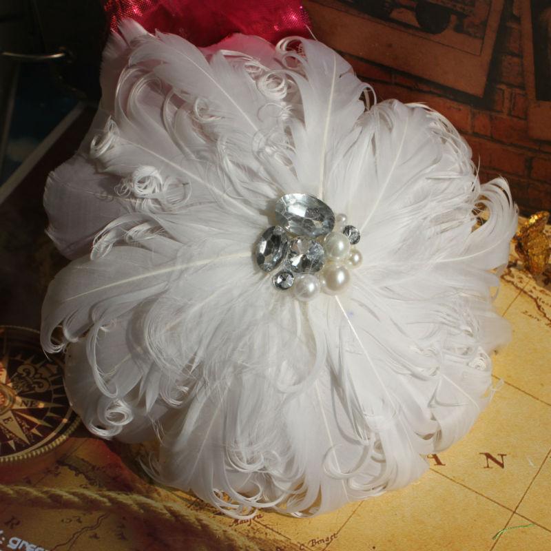 Women's White Wedding Bridal Feather Hair Clip Fascinator Hair Accessory(China (Mainland))