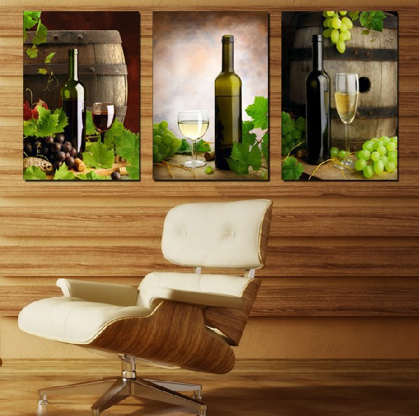 2016 New 3 Panel Modern Painting Home Decorative Art Picture Paint On Canvas Prints Grape And Wine Painting By Numbers Unframed(China (Mainland))
